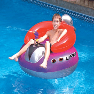 Retro UFO Spaceship Ray Gun Squirter Swimming Pool Float Space Travel Ready On Amazon