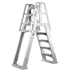Vinyl Works Adjustable Slide-Lock A-Frame Above Ground Pool Ladder 48-56 Inches On Amazon
