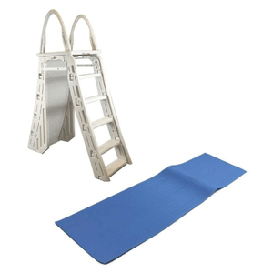 Confer Heavy-Duty A-Frame Above-Ground Pool Ladder With Hydro Tools Protective Mat On Amazon