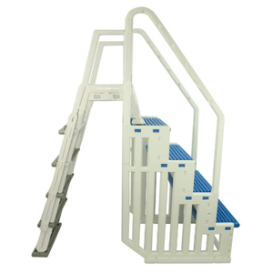 Above Ground Swimming InPool Step & Ladder Heavy Duty With Blue & Gray Steps On Amazon