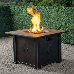 Durable Outdoor Gas Fire Pit Table With Antique Sturdy Steel Envirostone Propane In Black On Amazon