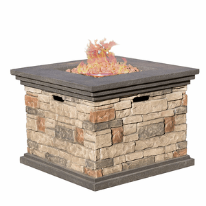 Propane Stone Outdoor Square Fire Pit Table With Lava Rocks By Christopher Knight Home On Amazon