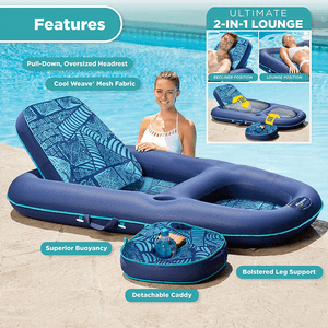 Convertible 2 in 1 Recliner & Tanner Lounge Inflatable Swimming Pool Float On Amazon