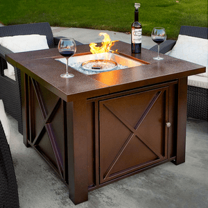 Premium Outdoor Patio Heater Fire Pit Table With Hammered Bronze Steel Finish On Amazon