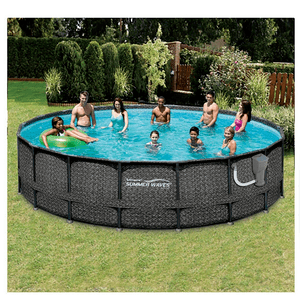 Summer Waves Elite Wicker Print 18-foot x 48-inches Above Ground Frame Pool Set On Amazon