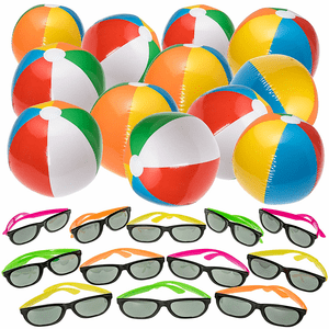 Swimming Pool Party Favors With Sunglasses And Inflatable Beach Balls On Amazon