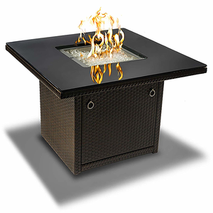 Propane Gas Outdoor Fire Pit Table With Arctic Ice Glass Rocks And Resin Wicker Panels On Amazon