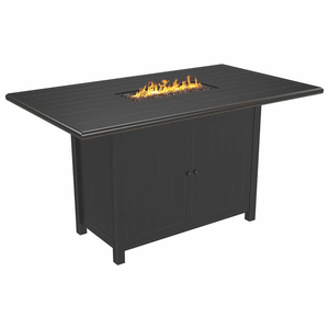 Perrymount Outdoor Rectangular Fire Pit Bar Table With Plank Effect Styling On Amazon