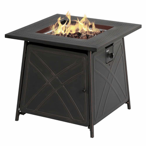 Outdoor Fire Table 28-Inch Black Square Table LP Gas 50,000 BTU Fire Pit On Amazon