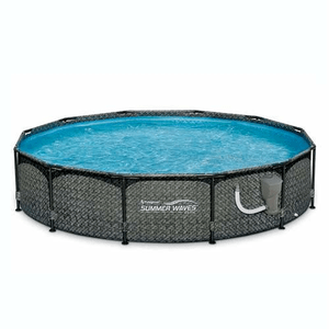 Summer Waves 12ft x 33-in Above Ground Pool Set With Pump In Dark Wicker On Amazon