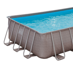 Summer Waves 24ft x 12ft x 52in Above Ground Rectangle Frame Pool Set In Brown Wicker On Amazon