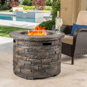 Stonecrest Patio Furniture Outdoor Propane (Gas) Fire Pit 40,000 BTU (Table)(Grey Stone/Round) On Amazon
