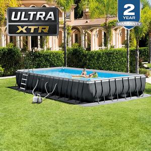 Intex 32ft x 16ft x 52in Ultra XTR Rectangular Salt Water System Above Ground Pool Set On Amazon