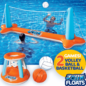 Inflatable Swimming Pool Float Set Volleyball Net & Basketball Hoops On Amazon