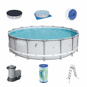 Bestway 18ft x 4.3 ft Power Reinforced Steel Frame Above Ground Swimming Pool Set On Amazon