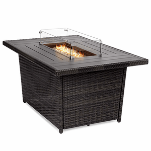 52-Inch Outdoor Wicker Propane Fire Pit Table With Glass Wind Guard, Tank Holder, Cover On Amazon