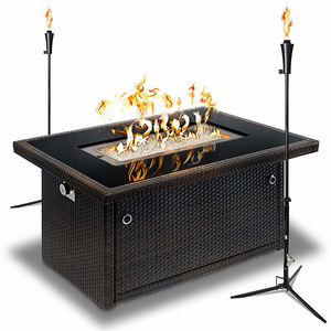 44-Inch Outdoor Propane Gas Fire Pit Table, Black Tempered Tabletop On Amazon